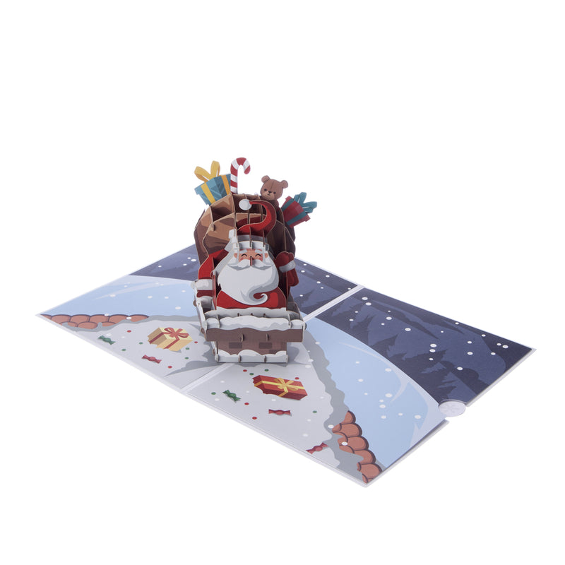 Santa Pop Up Christmas Card_Card Fully Open at 180 degrees
