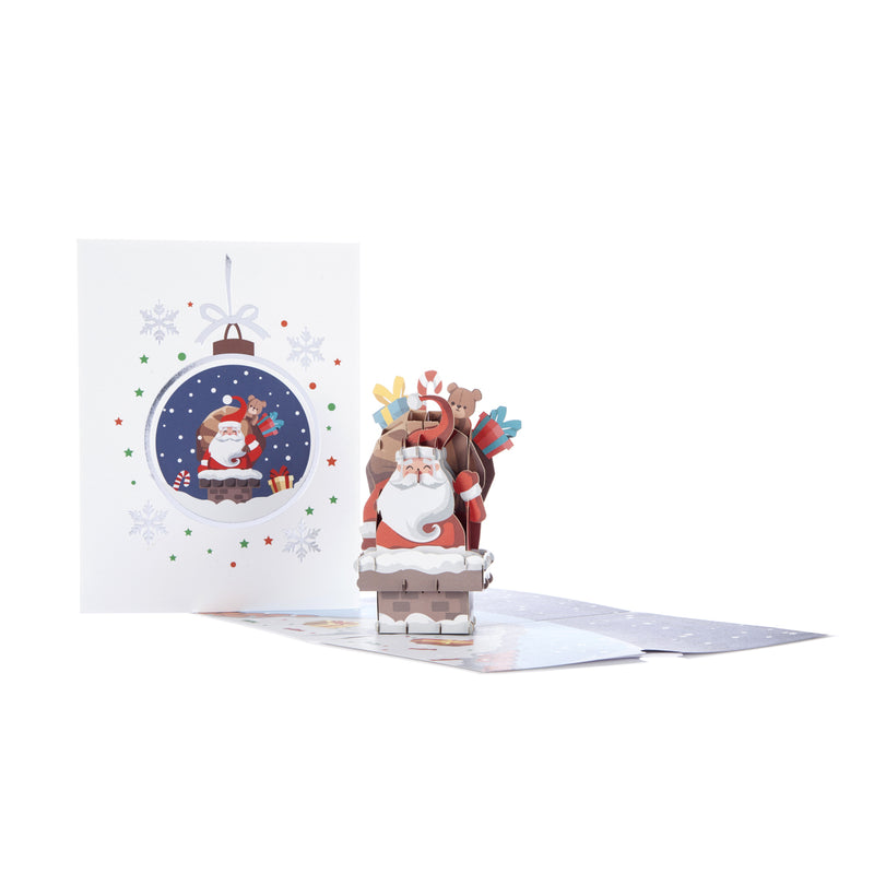 Santa Pop Up Christmas Card_Card Fully Open with Card Front Cover