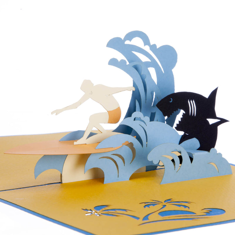 close up image of surfing pop up card