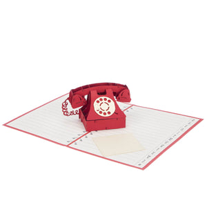 Valentine's Day Telephone Pop Up Card fully open at 180 degrees