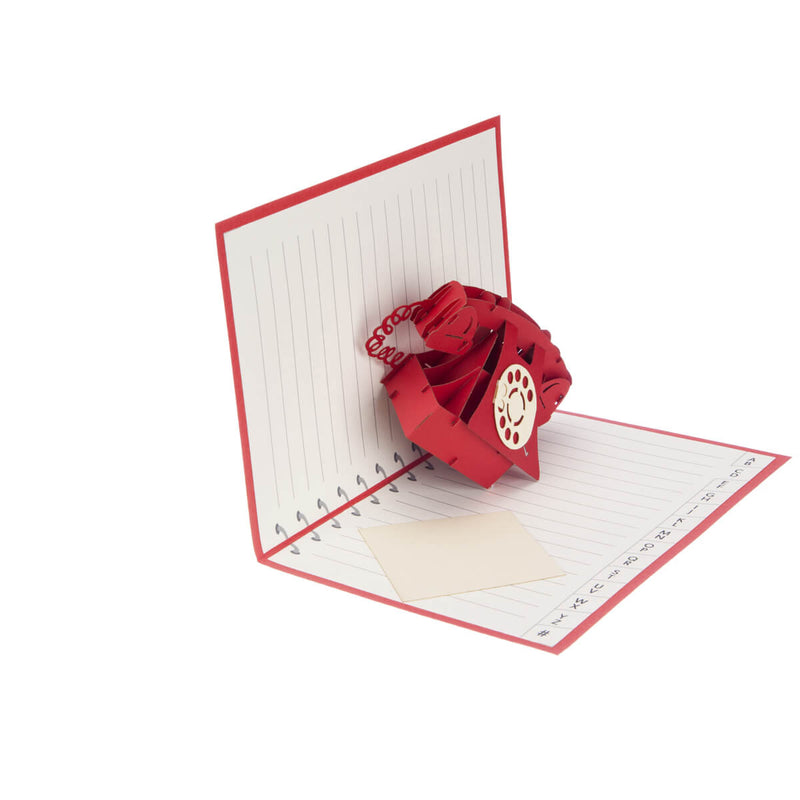 Valentine's Day Telephone Pop Up Card half open at 90 degrees