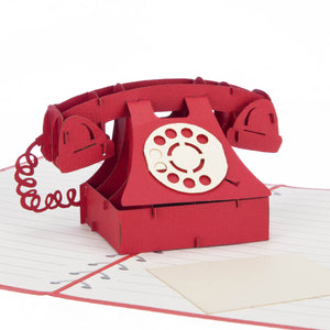 Close Up image of red Valentine's Day Retro Telephone Pop Up Card
