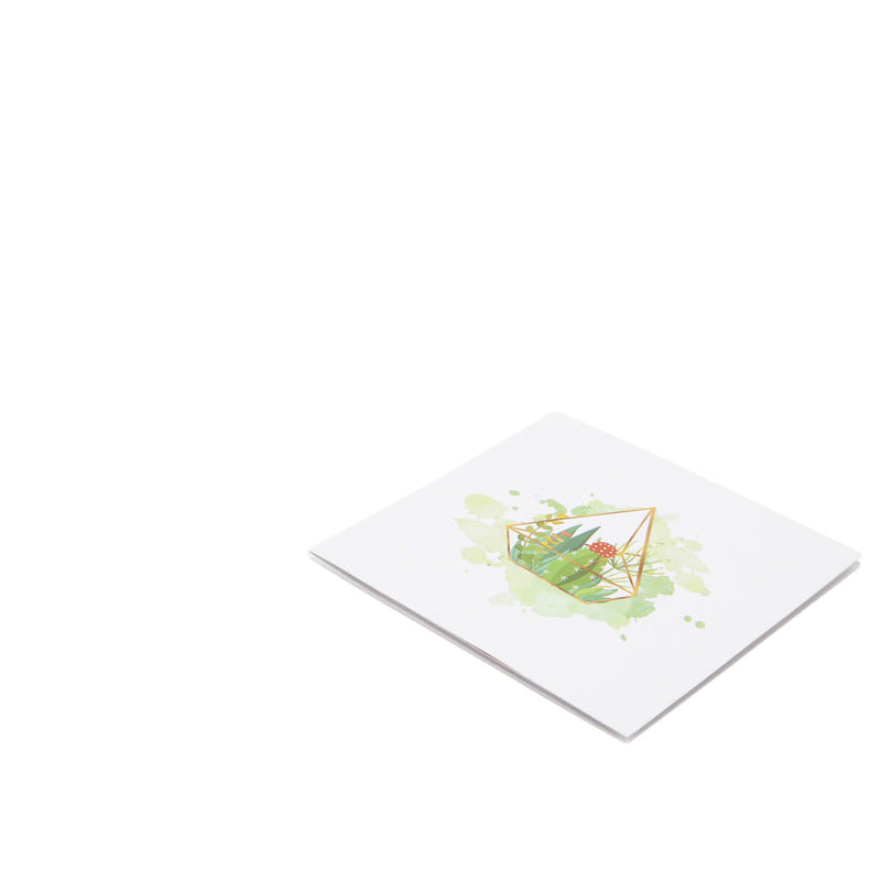Terrarium Pop Up Card - Card Fully Closed on a white surface