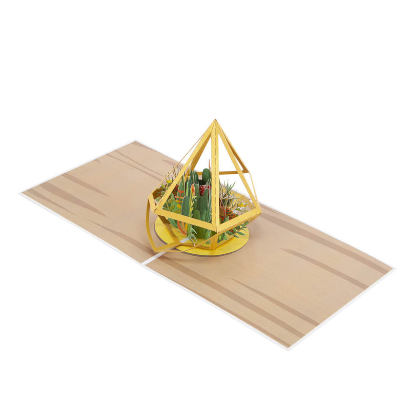Terrarium Pop Up Card - Card Fully Open at 180 Degrees on a white surface