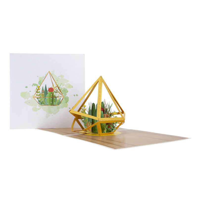 Terrarium Pop Up Card - Fully Open With Card Cover Behind