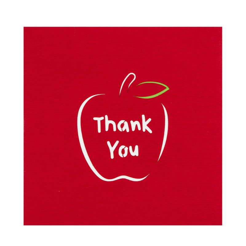 Close up image of Thank You Teacher Card Cover in red with a laser cut outline of an apple with Thank You written inside it