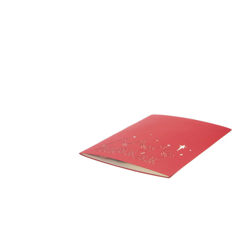 Three Kings Christmas card fully closed and lying flat on white surface