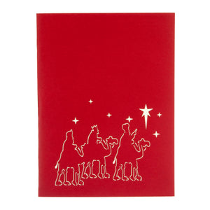 Three Kings Christmas Card Cover with image of three wise men on camels