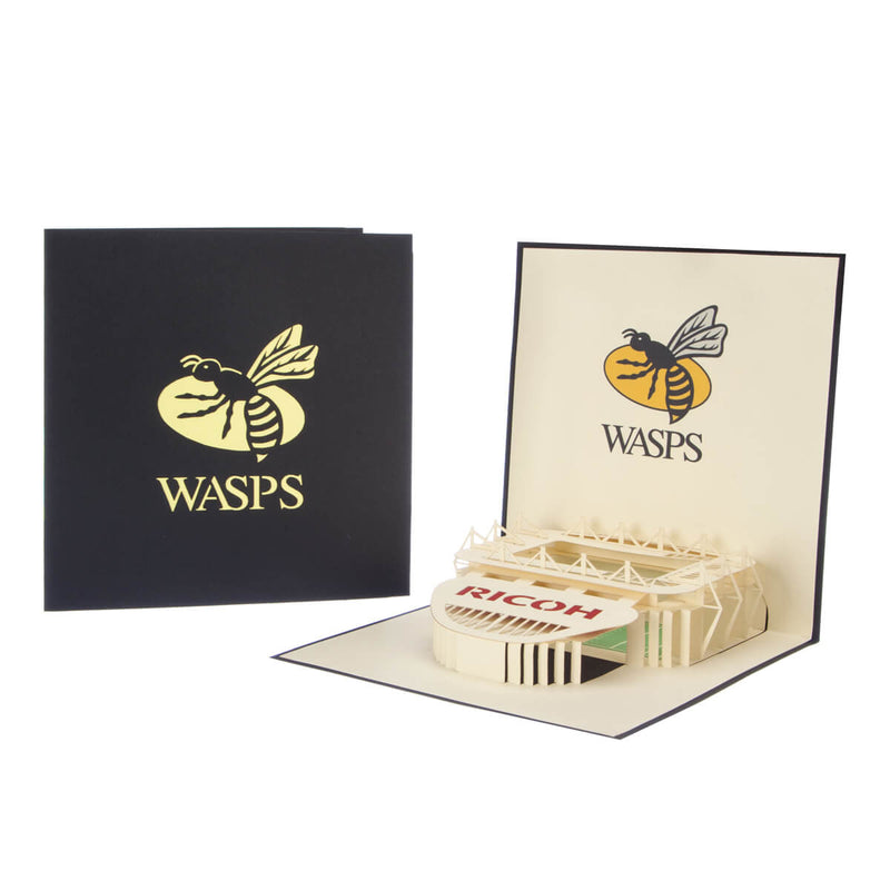 image of wasps rugby birthday card open with cover behind on a white background