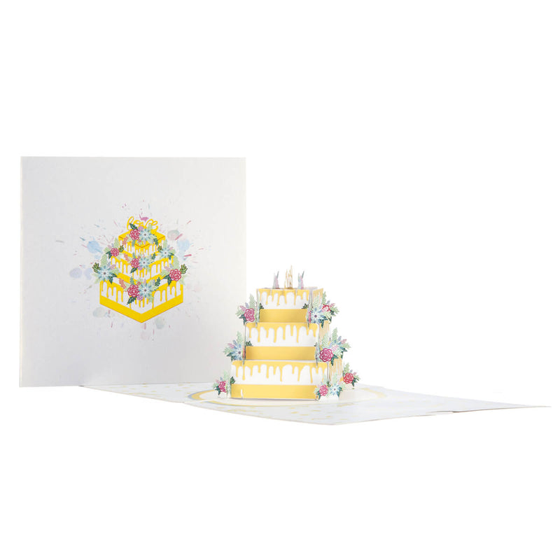 Wedding Cake Pop Up Card Fully Open With Cover Image