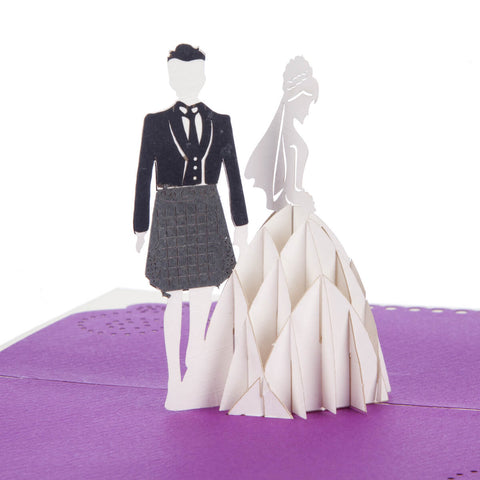 Scottish Bride and Groom Pop Up Card
