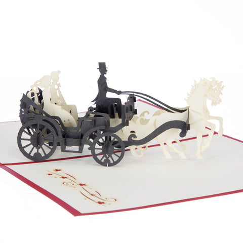 Wedding Carriage Pop Up Card