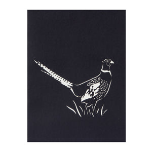 wild pheasant birthday pop up card cover, black with laser cut pheasant