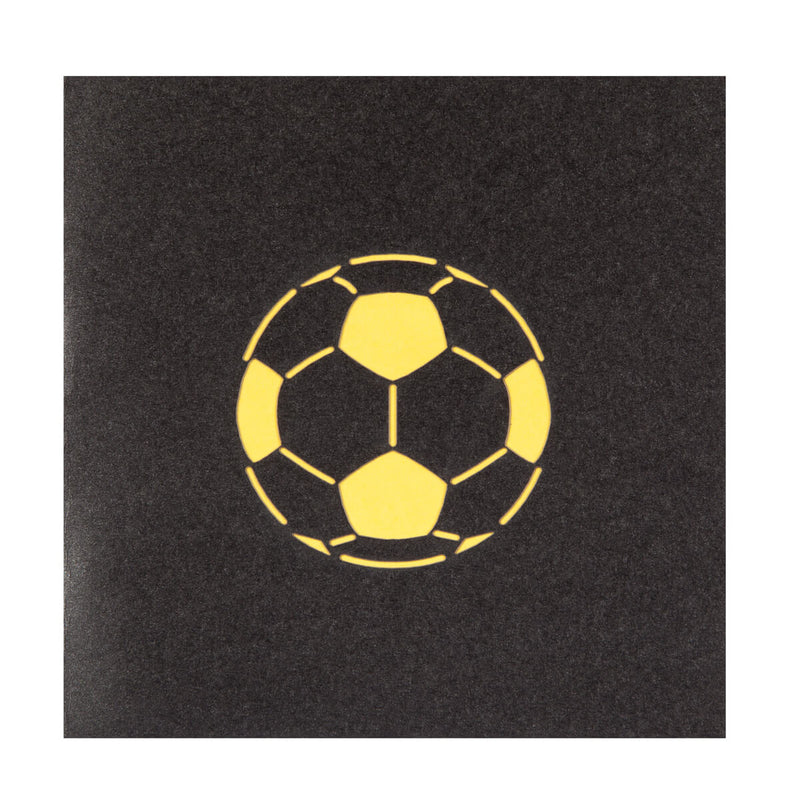 Close up image of womens football pop up birthday card cover