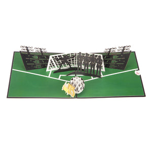 Image of womens football pop up birthday card featuring a 3D football and boot taking a penalty into a line of female defenders and goalkeeper, fully open