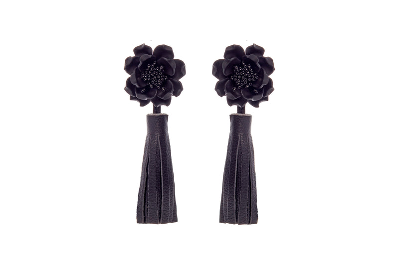Fleur Leather Tassel Earrings Black