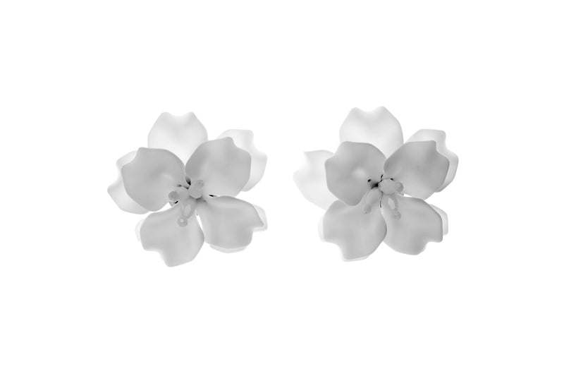 Fleur De Lis Earrings White Mini
