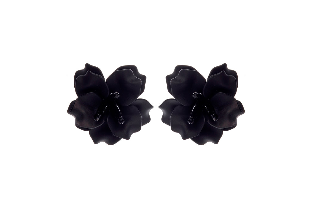 Fleur De Lis  Earrings Black