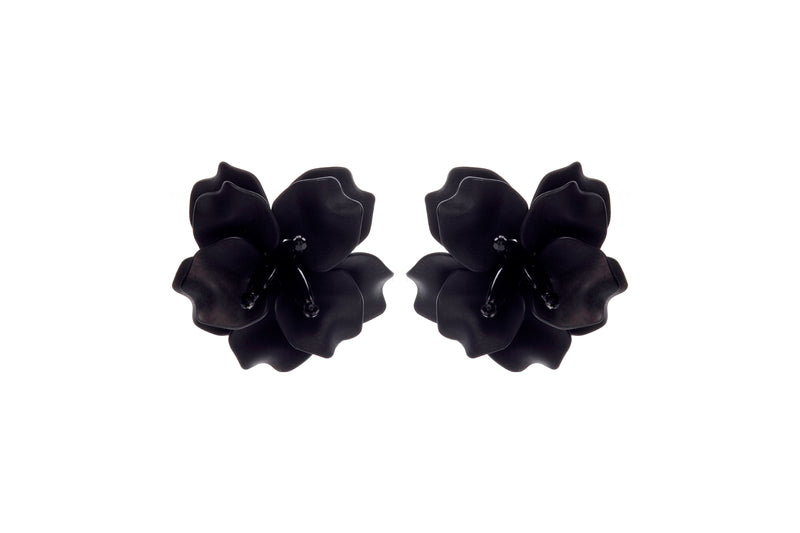 Fleur De Lis Earrings Black Mini