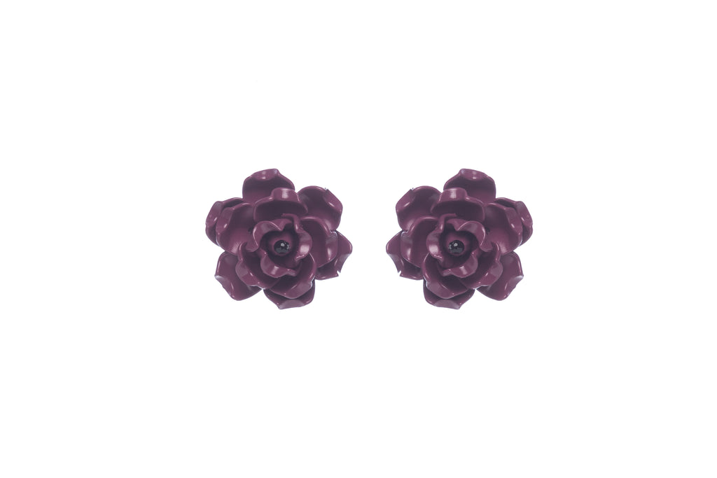 Fleur De Lis Earrings Plum Mini