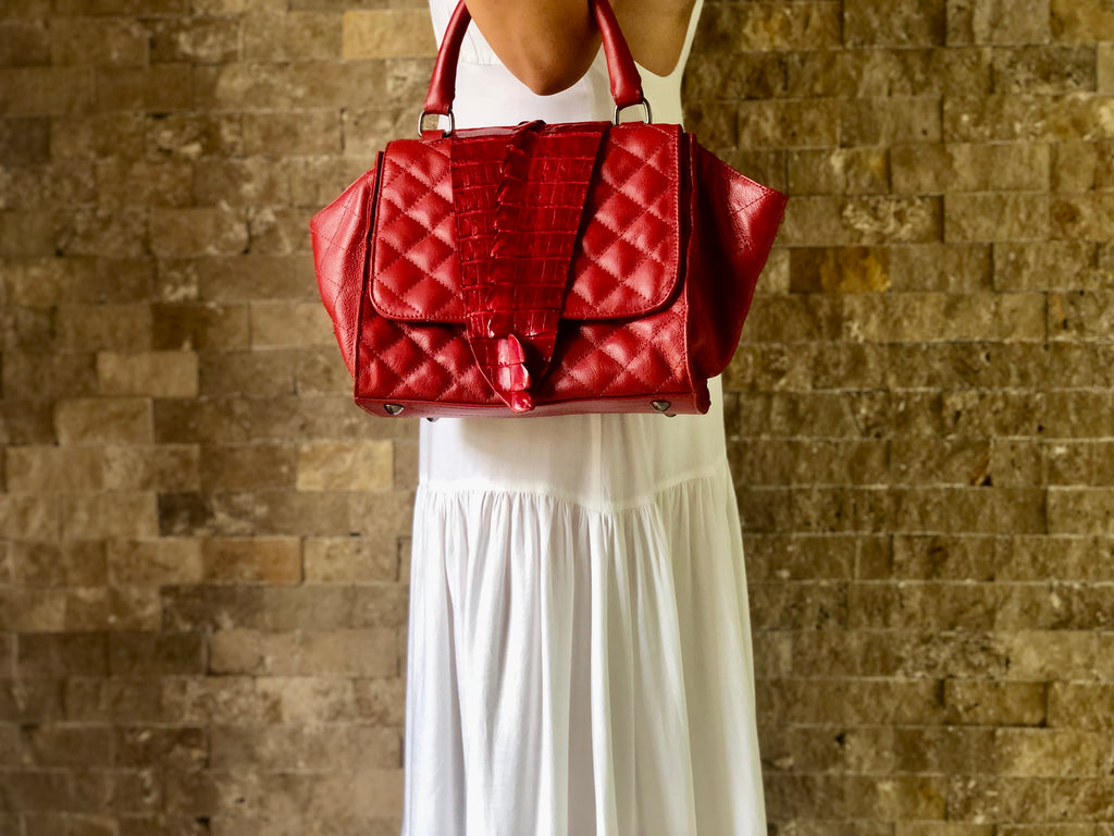 Alika B Quilted Structured Shoulder Bag in Red