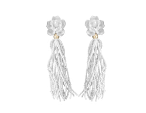 Fleur Beaded Tassel Earrings White