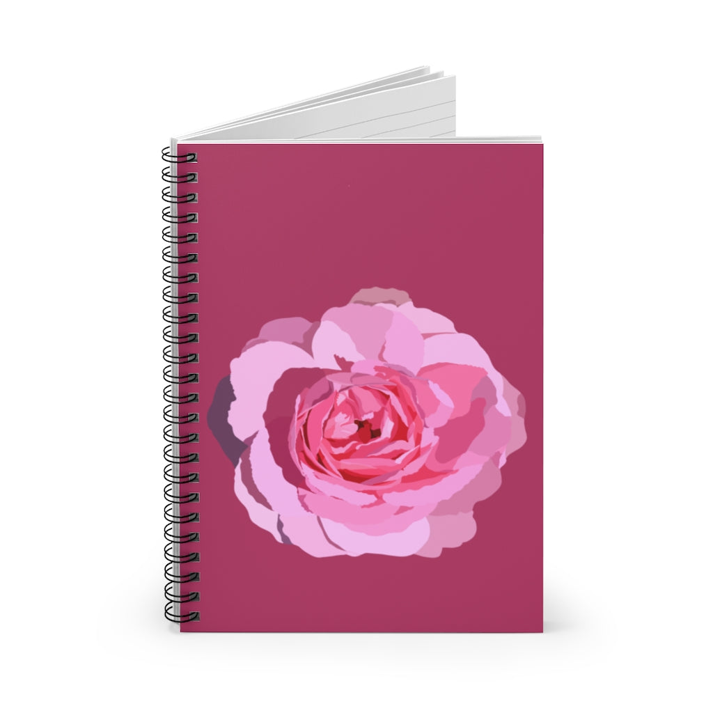 Spiral Notebook - Ruled Line Pink Rose