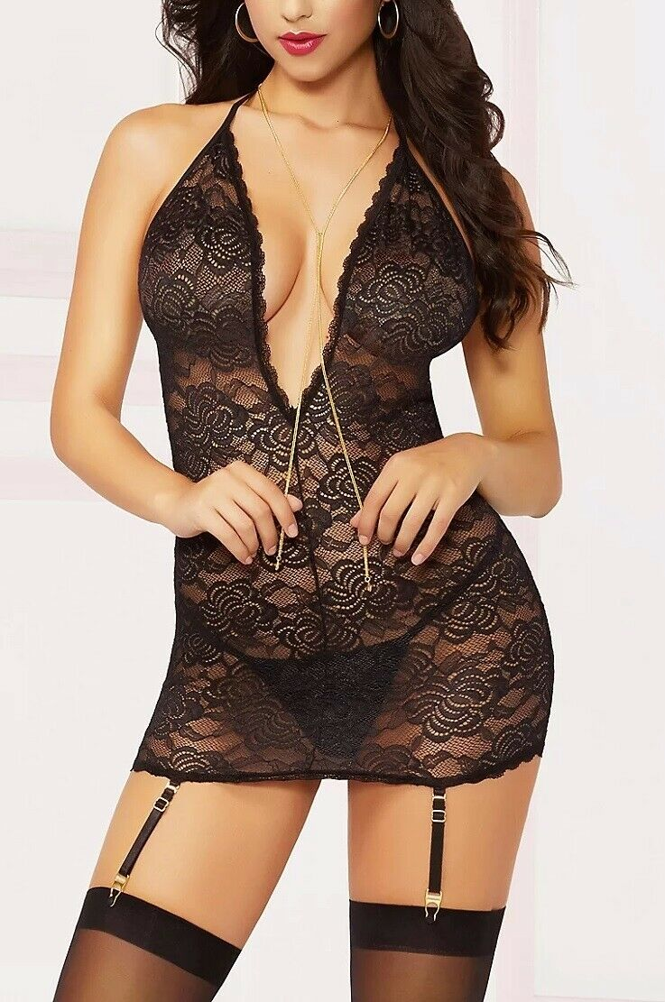Seven 'Til Midnight Floral Lace with Gold Chain Chemise