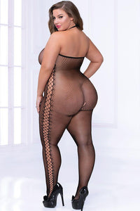 Lace Up Kiss Fishnet Body Stocking (Queen Size)