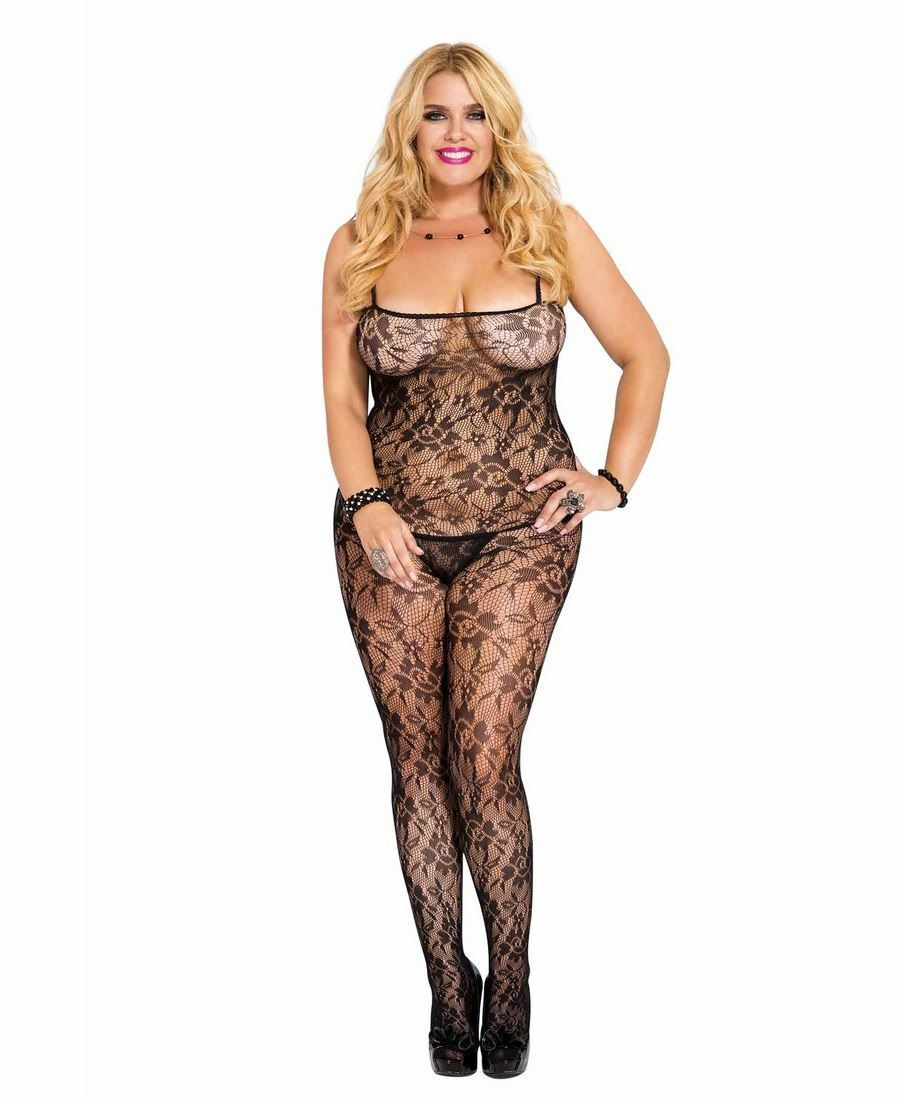 Music Legs Flower Lace Body Stocking (Queen Size)
