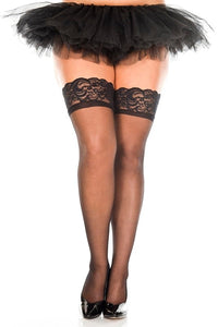 Lace Top Sheer Thigh High- Queen Size