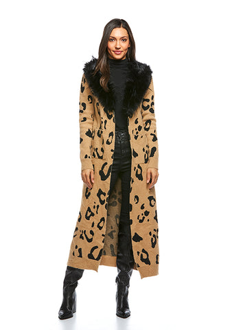 FOX COLLAR DUSTER LEOPARD