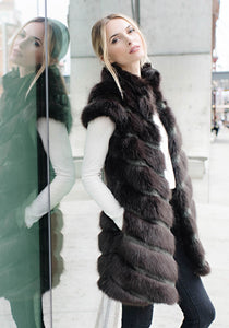 MANHATTAN MINK ZIP JACKET ESPRESSO - Fabulous Furs