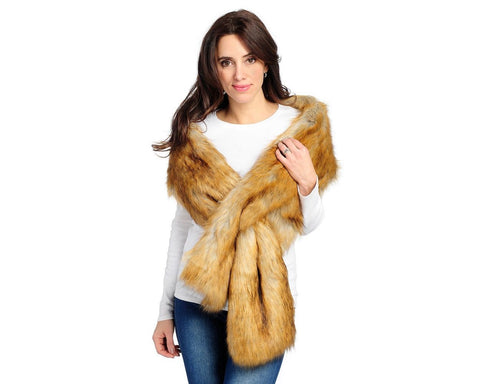 FAUX FUR PULL-THROUGH SCARF TAWNY
