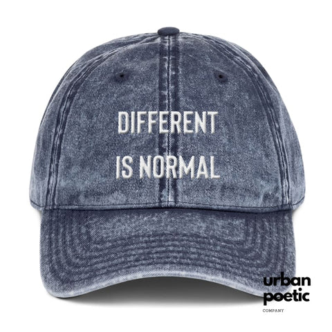 Different Is Normal Denim Caps Blue Hats