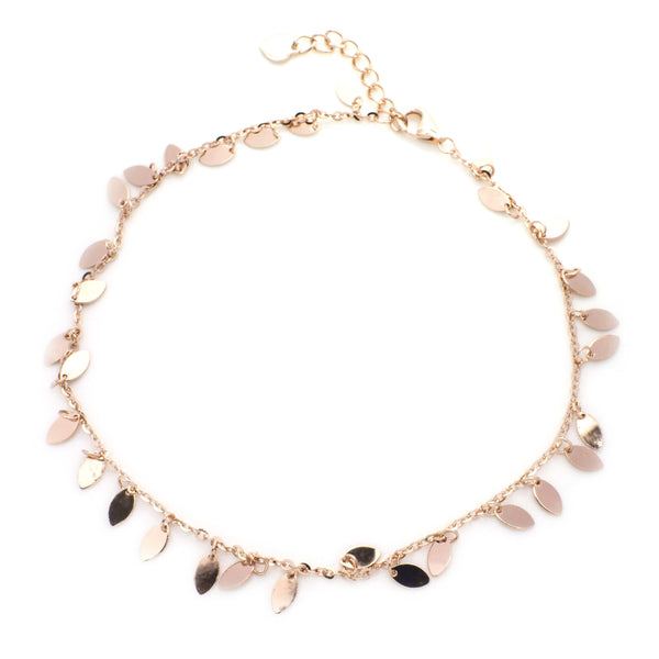 Rose Gold Anklet in Sterling Silver