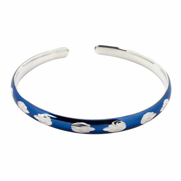 Blue Enameled Cuff Bracelet in .999 Silver
