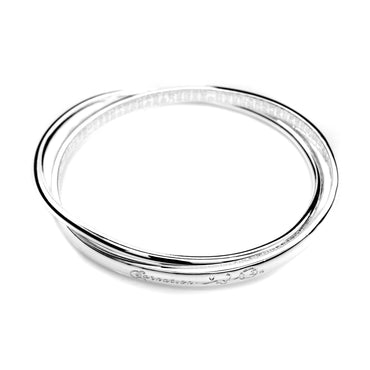 Double Bangle with Inside Inscription in .999 Silver