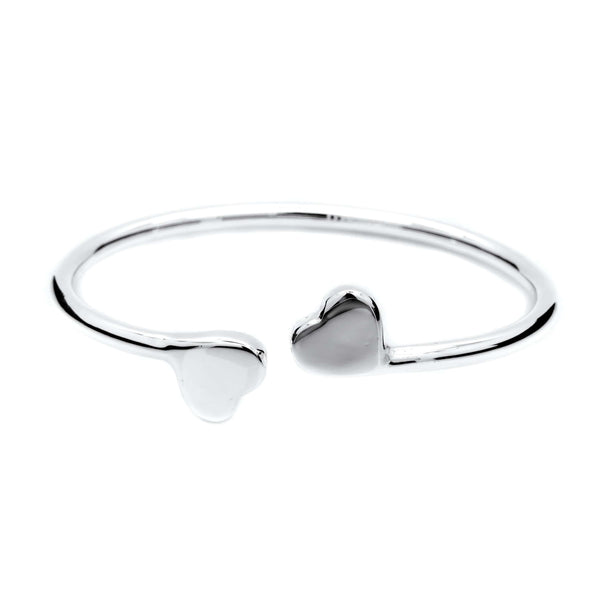 Double Hearts Bangle in .999 Silver