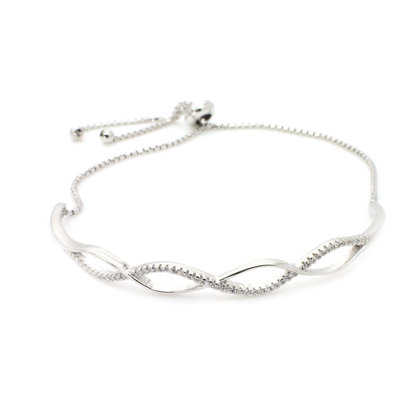 Double Infinity Bracelet with Bolo Slider in Sterling Silver