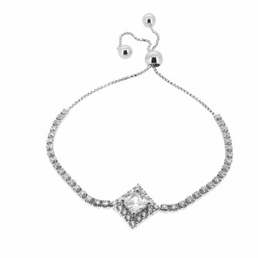 CZ Bracelet with Bolo Slider in Sterling Silver
