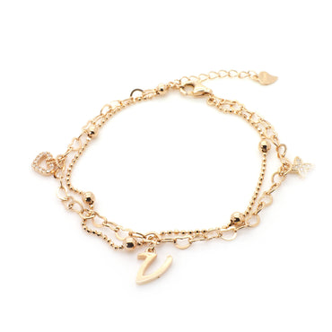 Interlocking Hearts Bracelet in Sterling Silver with Rose Gold Finish