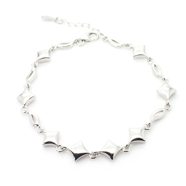 Diamond and Leaf Shape Bracelet in Sterling Silver