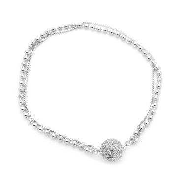 Bead and Box Link CZ Bracelet in Sterling Silver