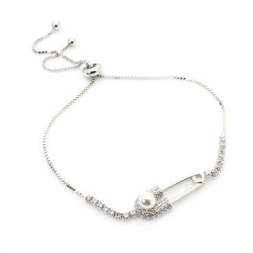 CZ and Pearl Bracelet with Bolo Slider in Sterling Silver