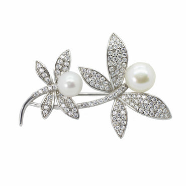 Dragonfly Pin with Cultured Pearl in Sterling Silver or Rose Gold