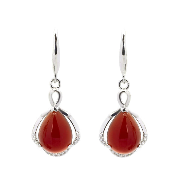 Carnelian Tearrop Earrings in Sterling Silver