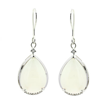 Chalcedony Drop Earrings in Sterling Silver