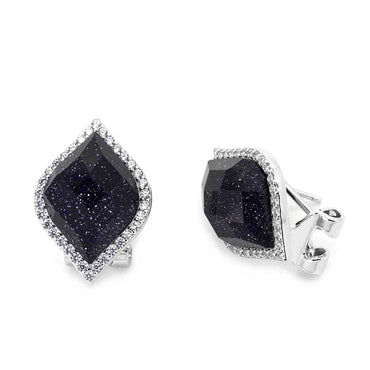 Black Galaxy French Clip Earrings in Sterling Silver
