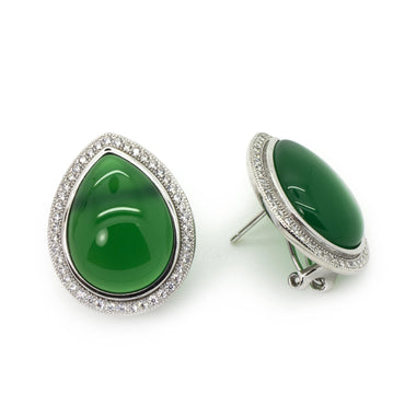 Green Agate Earrings in Sterling Silver